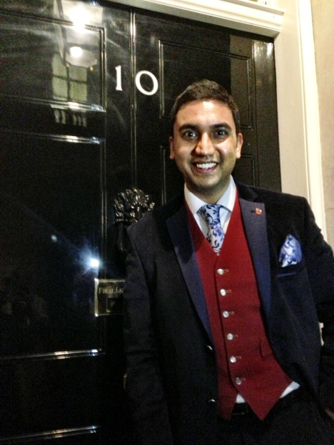Asian Toastmaster outside 10 Downing Street